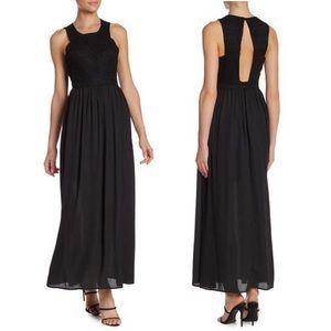 NWT Wild Honey Black Lace Open Back Maxi Dress